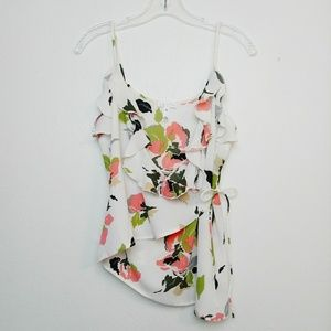 Leith Nordstrom Floral Ruffled Wrap Tank Top XS